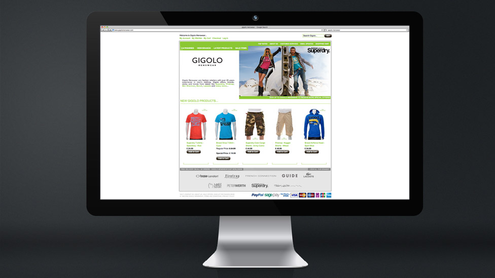 Gigolo Menswear Cheshire Web Design